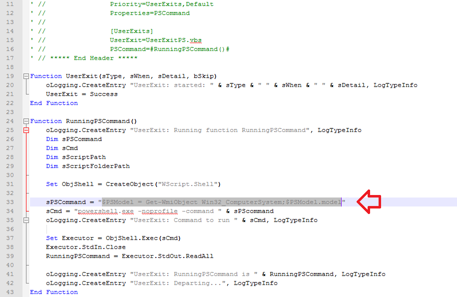 OSD – Using PowerShell Commands in UserExit VB script to
