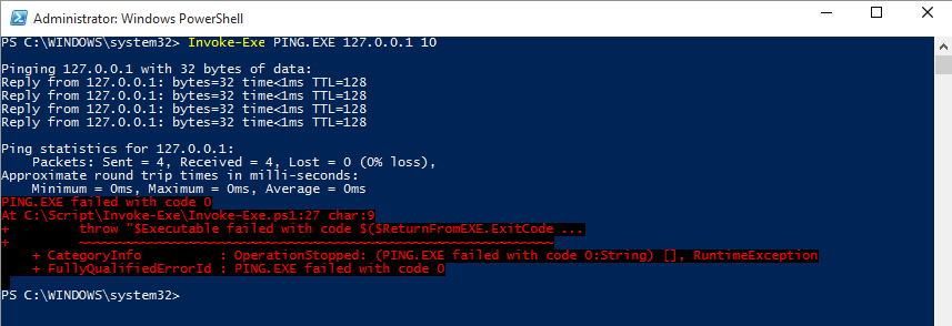 PowerShell Is King – Run a EXE inside with style and exit
