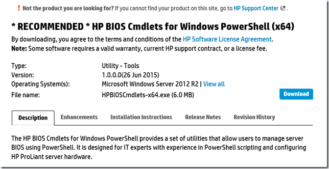 Working in the Datacenter – HP BIOS Cmdlets for Windows