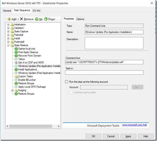 "OSD – Prevent Windows to ""randomly"" run Windows Update during the"