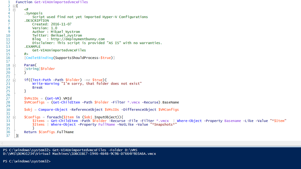 PowerShell is King – Find VM Configuration files ( vmcx) that have