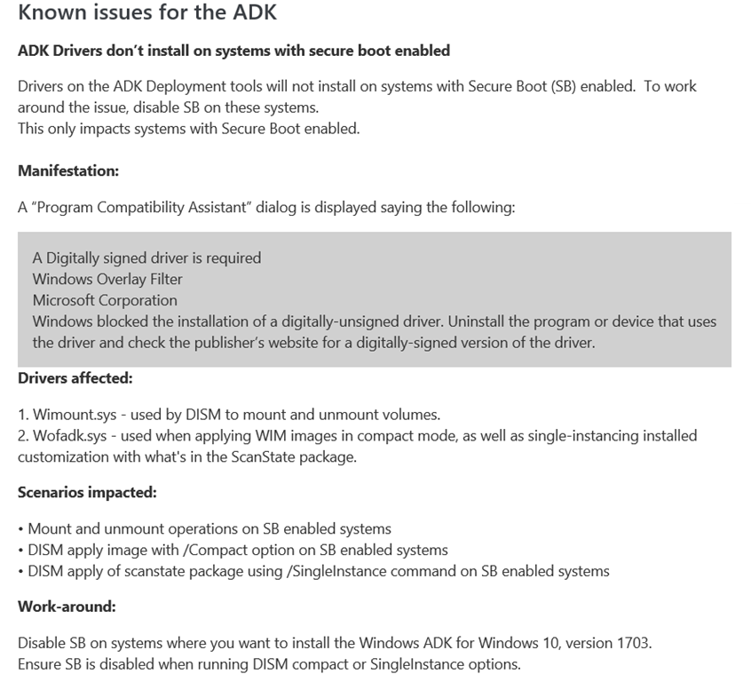 OS Deployment – Installing ADK 1703 on Windows Server 2016