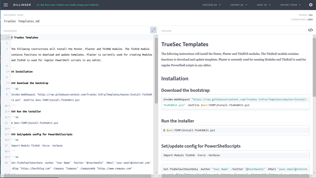 Nice to Know – Online editor for GitHub readme MD files – The